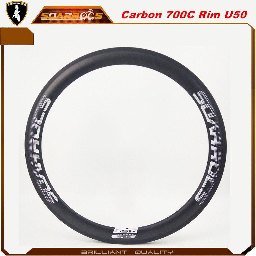 Soarrocs 50mm carbon clincher bicycle rims carbon fiber road bike U shape 700c carbon rims