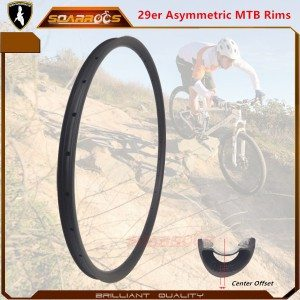 Soarrocs mtb rims asymmetrical 29er carbon rims for XC carbon 29er wheels